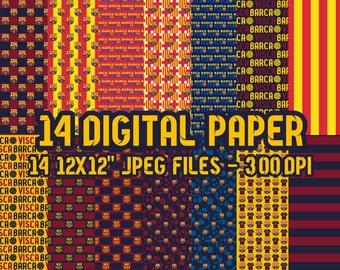 Barca Barcelona Soccer Futbol Digital Paper - 14 jpeg files 12x12 inches 300 dpi