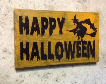 Halloween Witch Wood Sign Ready To Hang Custom Wood Hand Painted Sign Pine