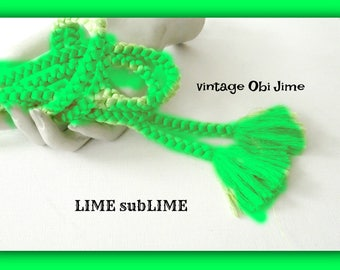 LIME sublime Obijime // Vintage SiLK Cinch tie Cord for Kimono OBI  hand braided  Round style kumihimo // bright GREEN //  60 inches