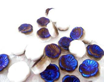 x 2 12 mm white and iridescent Czech glass Hawaii flower beads blue.