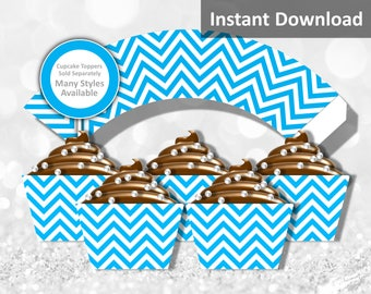 Turquoise Blue Chevron Cupcake Wrapper Instant Download, Party Decorations