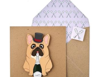 Congratulations French Bulldog - Personalised Wedding Greeting Card