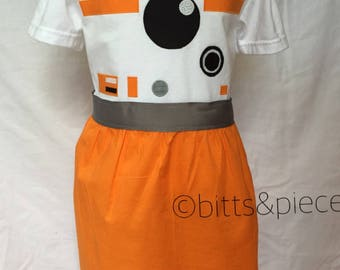 BB-8 Inspired Comfy T-Shirt Dress, sizes 2, 3, 4 and 5 (for ages 2-3, 3-4, 4-5 and 5-6)