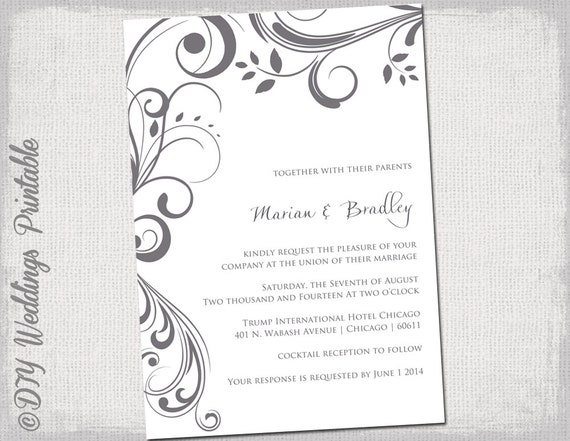 Wedding Invitations Template Word: Wedding Invitation Templates Charcoal Gray Scroll