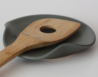 Gray/Green Ceramic Spoon Rest | Made to Order