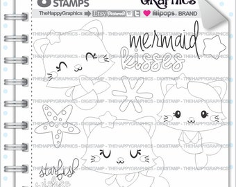 Mermaid Stamps 80OFF Commercial Use Digi Stamp Digital Image Digistamp Kawaii Cat Summer
