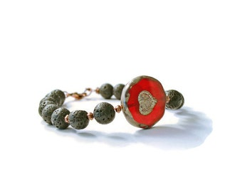 Essential Oil Diffuser Bracelet, Lava Stones, Red Heart Czech Glass Pendant and Antique Copper, Aromatherapy Jewelry