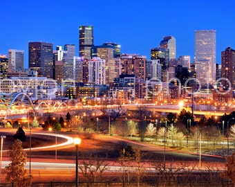 CANVAS Denver Skyline DUSK Broncos Panoramic Photo Print Cityscape Colorado Speer Bridge