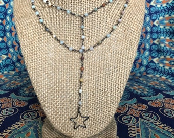 Double layered dangle star necklace - happy go lucky necklace