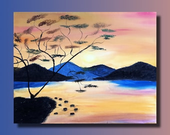 Sunset, mountains, nature landscape oil painting