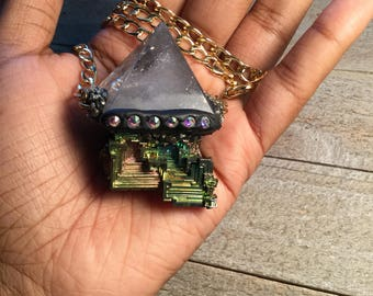 Quartz/Bismuth Cosmic Pyramid Necklace
