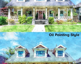 Custom Digital Painting of your Home  {Watercolor or Oil Style}