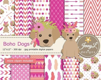 50% OFF Boho Dog Digital Papers and Clipart SET, Tribal Puppy, Labrador Doggie, Feather, Animal for Scrapbooking, Invitation, Birthday, Plan