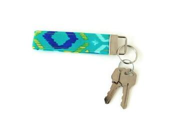 Teal and blue key fob, sketch key wristlet, key chain, blue key lanyard