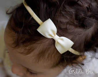 Cream Baby Bows - Cream Flower Girl Headband - Small Satin Cream Bow Handmade Headband - Newborn to Adult Headband