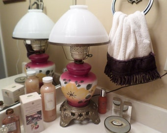 Vintage Victorian Gone With the Wind Electrifided Table Lamp/Oil/Glass/Shade/Lantern-Red Floral
