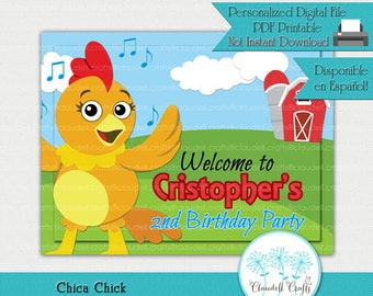 Chica Chick Inspired Printable Welcome Sign / Cartel Bienvenida