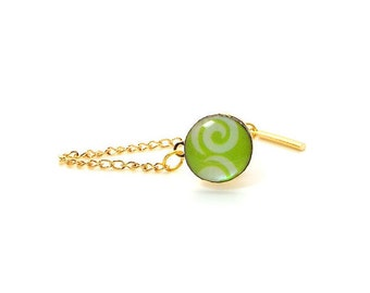 Lime Green and White Swirl Tie Tac – Lime Green and White Mother of Pearl Tie Tac, Green and White Tie Tac