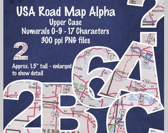 Digital USA Road Map Alpha upper case, 0-9, 17 characters-printable, clip art, alphabet, 1 inch tall-INSTANT DOWNLOAD