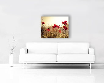 Large Canvas Art, Red Poppy Art, Gold, Red, Canvas Wall Art, Red Poppies Canvas, Flower Wall Art