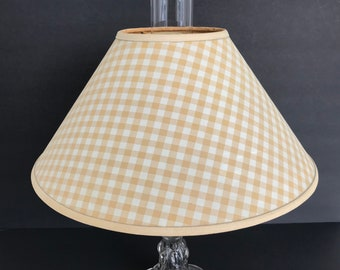 Chimney lamp shade etsy lamp shade gold and white fabric over plastic chimney shade fitter 14 aloadofball Images