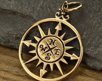 Natural Bronze Compass Rose Pendant