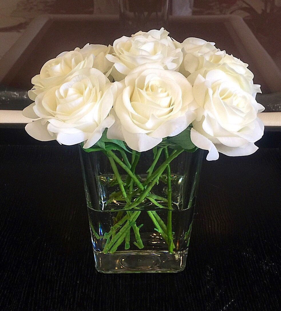 Real Touch Rose Centerpiece White Rose Floral Arrangement