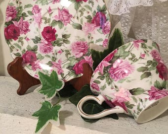 Gracie Bone China Rose Chintz Cup & Saucer Gilded edges for a Garden Tea Party, Mother's Day
