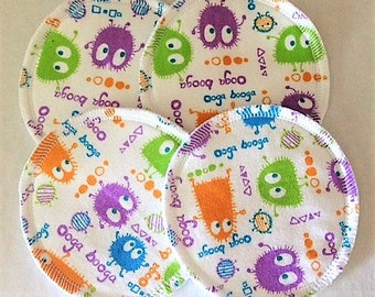 2 Pairs of Cloth Nursing Pads - Spring Ooga Booga Monsters