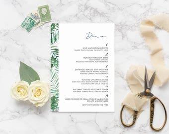 Tropical Leaves Wedding Menu Calligraphy Custom Menu