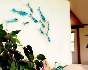 Fused Glass School of Fish