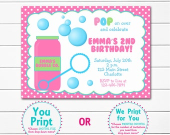 Bubbles Birthday Party Invitation --  blowing bubbles party invitation Bubbles Birthday