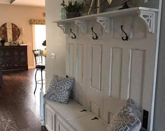 Entryway storage bench and coat rack