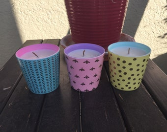 Spring petite trio soy candles - Caribbean teakwood, sun dried linen , love spell
