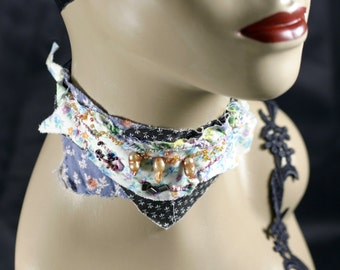 The marshy peanut pie - OOAK, Neck-Cessory, collage art wearable,necklace,choker, collar, up-cycled jewelry