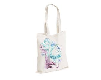 Alice In Wonderland Book Box Eat Me - Watercolour watercolor Tote Canvas bag, White, Reusable Shopping Bag