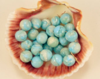 StudioStJames Handcrafted Marbleized Faux Larimar Beads-8mm Round Clay Beads-6 Piece Bead Set-Aqua Blue and White Set-PA 100607