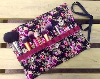 Makeup Brush Roll with Suede Leather | Black Floral Rose Print | Make Up Brush Roll | Brush Holder | Travel Brush Case | Pretty Sister Gift
