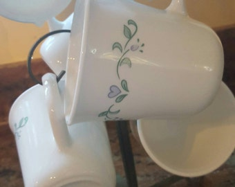 Vintage Rare pattern Corning USA Country Cottage Blue Heart Coffee Cups Tea Mugs D Handle