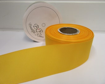 Grosgrain Ribbon 3mm 6mm 10mm 16mm 22mm 38mm 50mm Rolls, Marigold, Dark Yellow, 2, 20 or 50 metres, Ribbed Double sided,