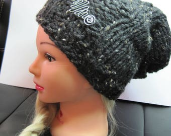 Long Black knit Beanie