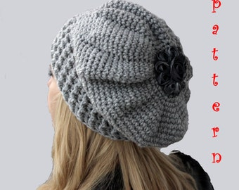 Crochet Pattern Crochet Slouch Hat, Crochet French Beret Pattern,Crochet Slouchy Beanie Pattern, Instant Download PDF