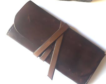 Leather Phone Case - Leather Clutch Purse - Unisex Wallet - Leather Pencil Holder - Leather Cigarette Case  - Boho Leather Clutch