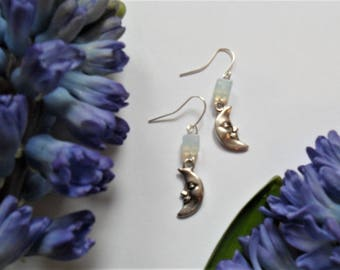Waxing Crescent Moon Earrings in Tibetan Silver with Opalite - Earrings - Moonstone - Imbolc - Spring  - Goddess