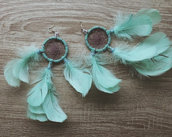 SALE! Dream cather earrings  // Mint and purple
