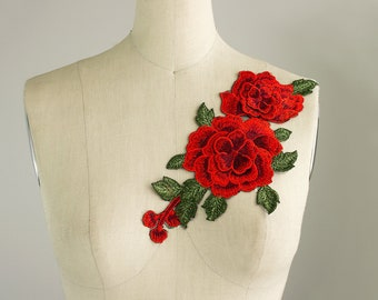 NEW ITEM! Large Red Roses Large Iron On Patch Applique / Embroidered Patches / Gucci Style / Jeans / Shoes / No Sew