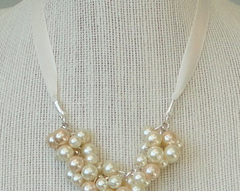 ON SALE Pick Your COLOR Flower Girl Ivory, CHAMpagne Pearl Cluster & Ivory Ribbon BRIDal WEDDing Junior Bridesmaid Necklace By DYEnamite