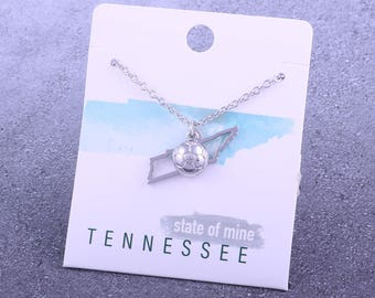 Customizable! State of Mine: Tennessee Soccer Silver Necklace - Great Soccer Gift!