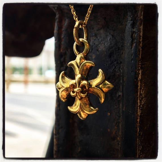 Etherial Jewelry - Rock Chic Talisman Luxury Biker Custom Handmade Artisan Pure Sterling Silver .925 Maltese Cross & Fleur De Lis Pendant