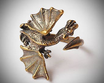 Dragon ring, Cute fantasy ring for women or men, Handcrafted brass jewelry, Adjustable size 5 -7,5 US